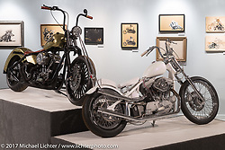 Savannah Rose's Harley-Davidson custom Evo Sportster Chopper with an S&S top end in the Terence Musto's 1966 Harley-Davidson Shovelhead Chopper with in-the-frame internal suspension in the Old Iron - Young Blood exhibition in the Motorcycles as Art gallery at the Buffalo Chip during the annual Sturgis Black Hills Motorcycle Rally. Sturgis, SD, USA. Wednesday August 9, 2017. Photography ©2017 Michael Lichter.