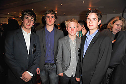 Left to right, JONNY GILBERT-HART, OLLIE BIDDULPH, ALEX BUCKINGHAM and OLIE SIMON at a party following the premier of Boogie Woogie held at The Westbury Hotel, Conduit Street, London on 13th April 2010.