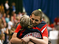 Loughborough, England - Saturday 31 July 2010: Team USA competitors congratulate each other on another successful routine during the World Rope Skipping Championships held at Loughborough University, England. The championships run over 7 days and comprise junior categories for 12-14 year olds in the World Youth Tournament, 15-17 year olds male and female championships, and any age open championships. In the team competitions, 6 events are judged, the Single Rope Speed, Double Dutch Speed Relay, Single Rope Pair Freestyle, Single Rope Team Freestyle, Double Dutch Single Freestyle and Double Dutch Pair Freestyle. For more information check www.rs2010.org. Picture by Andrew Tobin/Picture It Now.