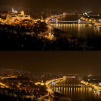 "The combination photo taken on March 26, 2011 shows the Castle of Buda (L) and the Chain Bridge (R) before (Top) and during the ""Earth Hour"" in Budapest, Hungary. The ""Earth Hour"", initiated by the World Wild Fund for Nature (WWF) in 2007, calls on families and buildings to turn off the lights for one hour on the last Saturday night of March. ATTILA VOLGYI"