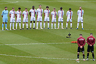 Scunthorpe United pay respect to those who lost their lives at the Bradford fire  during the EFL Sky Bet League 2 match between Bradford City and Scunthorpe United at the Utilita Energy Stadium, Bradford, England on 1 May 2021.