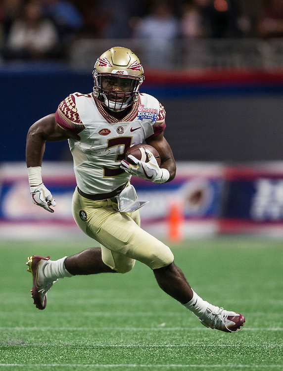 Florida State Seminoles running back Cam Akers (3) during the Chick-fil-A Kickoff NCAA football game on Saturday, September 2, 2017, in Atlanta. (Jason Parkhurst via Abell Images for Chick-fil-A Kickoff Game)