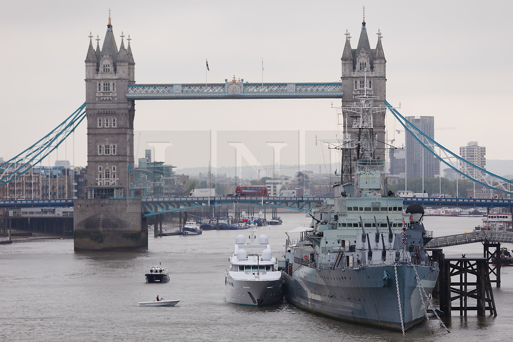 © Licensed to London News Pictures. 16/05/2018. London, UK. Superyacht, Lady M II moored next to HMS Belfast after passing under Tower Bridge this morning. The 164 feet long superyacht, Lady M II (previously named Lady M) is rumoured to be owned by politician and businessman, Lord Ashcroft. A different superyacht, called Lady M visited Glasgow and Cumbria last year and was reported to be owned by Russia's richest Billionaire, Alexi Mordashov. Lady M II sleeps up to 11 guests in 6 rooms and is also capable of carrying up to 12 crew onboard. Lady M II was designed by Donald Starkeywith various luxuries onboard, including a deck jacuzzi and is advertised for charter at USD180,000 per week plus expenses. Photo credit: Vickie Flores/LNP