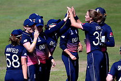 Natalie Sciver of England Women celebrates with teammates after taking the wicket of Lizelle Lee of South Africa Women - Mandatory by-line: Robbie Stephenson/JMP - 05/07/2017 - CRICKET - County Ground - Bristol, United Kingdom - England Women v South Africa Women - ICC Women's World Cup Group Stage