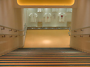 an empty stairwell in a department store