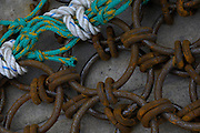 Commercial fishing dredging equipment, chains and rope