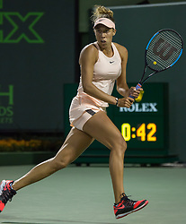 March 22, 2018 - Miami, Florida, United States - Madison Keys, from the US, in action against Victoria Azarenka, during her third round match at the Miami Open  on March 23, 2018 in Key Biscayne, Florida. Keys had to retire due to injory when Azarenka was leading 7-6(5), 2-0 (Credit Image: © Manuel Mazzanti/NurPhoto via ZUMA Press)