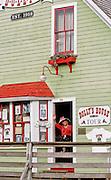 Ketchikan, Alaska. Creek Street in Ketchikan, with pier front houses along the tidal slough.
