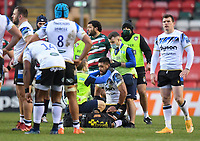 Rugby Union - 2020 / 2021 Gallagher Premiership - Leicester Tigers vs Bath - Welford Road<br /> <br /> Bath Rugby's Taulupe Faletau receiving medical attention during the game<br /> <br /> COLORSPORT/ASHLEY WESTERN