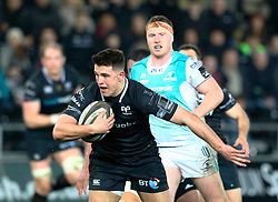 Ospreys' Owen Watkin makes a break<br /> <br /> Photographer Simon King/Replay Images<br /> <br /> Guinness PRO14 Round 19 - Ospreys v Connacht - Friday 6th April 2018 - Liberty Stadium - Swansea<br /> <br /> World Copyright © Replay Images . All rights reserved. info@replayimages.co.uk - http://replayimages.co.uk