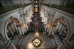 Guests leave after attending a service at St Paul's Cathedral in London to mark the Centenary of the Order of the British Empire.