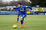 AFC Wimbledon attacker Harry Forrester (11) dribbling during the EFL Sky Bet League 1 match between AFC Wimbledon and Wigan Athletic at the Cherry Red Records Stadium, Kingston, England on 16 December 2017. Photo by Matthew Redman.