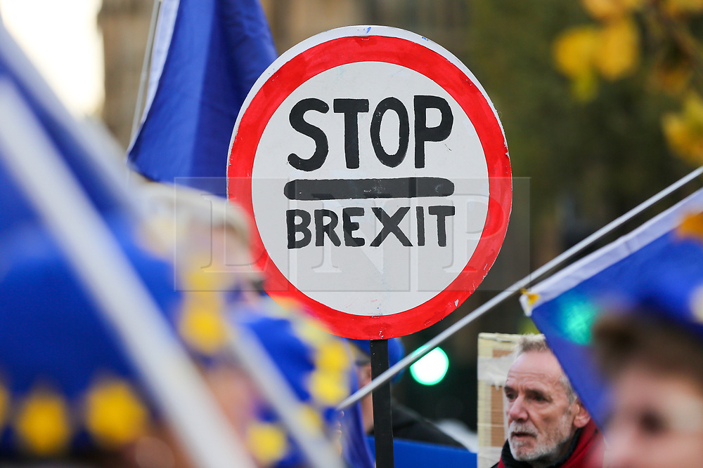© Licensed to London News Pictures. 05/11/2019. London, UK. An anti-Brexit protester holds a 'STOP BREXIT' sign outside the Houses of Parliament. EU has granted an extension until 31 January 2020 for the UK to leave the European Union. Photo credit: Dinendra Haria/LNP