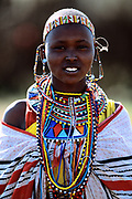 Maasai woman covered in beads