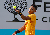 Tennis - 2019 Queen's Club Fever-Tree Championships - Day Six, Saturday<br /> <br /> Men's Singles, Semi Final: Felix Auger-Aliassime (CAN) Vs. Feliciano Lopez (ESP)<br /> <br /> Felix Auger-Aliassime (CAN) serves on Centre Court.<br />  <br /> COLORSPORT/DANIEL BEARHAM