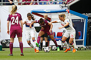Nikita Parris of Manchester and Amel Majri to OL and Amandine Henry of Lyon during the UEFA Women's Champions League, semi final, 2nd leg football match between Olympique Lyonnais and Manchester City on April 29, 2018 at Groupama stadium in Décines-Charpieu near Lyon, France - Photo Romain Biard / Isports / ProSportsImages / DPPI