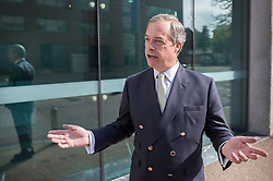 © Licensed to London News Pictures. 15/05/2016. London, UK.  UKIP party leader Nigel Farage arrives to appear on ITV's Peston's Politics. Photo credit: Peter Macdiarmid/LNP