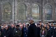 Three days after the killing of Jack Merritt, 25, and Saskia Jones, 23, by the convicted teorrorist Usman Khan at Fishmongers Hall on London Bridge, friends and families of the victims and Prime Minister Boris Johnson, Leader of the Opposition Jeremy Corbyn, London Mayor Sadiq Khan who addresses the crowd at the vigil at the Guildhall in the City of London, on 2nd December 2019, in London, England.