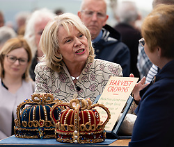 Dundee, Scotland, UK. 23 June 2019. The BBC Antiques Roadshow TV programme is aiming on location t the new V&A Museum in Dundee today. Long queues formed as members of the public arrived with their collectables to have them appraised and valued by the Antiques Roadshow experts. Select items and their owners were chosen to be filmed for the show. Pictured, Judith Miller discusses merits of antiques brought by member of the public
