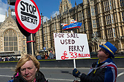 Protestors demonstrate their distaste for the UK government's handling of Brexit negotiations - and specifically, the failed business deal to contract the Seabourne Ferry contract from Ramsgate - during a pro-EU brexit protest opposite Parliament, on 11th March 2019, in Westminster, London, England.