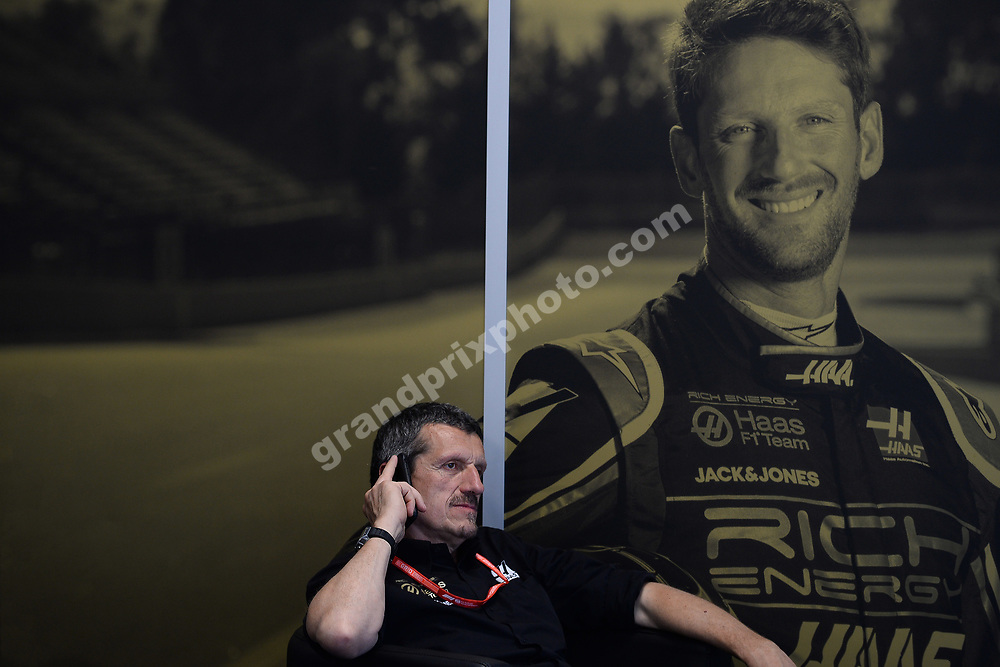 Guenther Steiner (Haas-Ferrari) with telephone ag Romain Grosjean poster before the 2019 Canadian Grand Prix in Montreal. Photo: Grand Prix Photo
