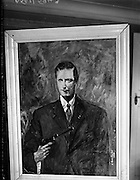 19/09/1960<br /> 09/19/1960<br /> 19 September 1960<br /> Painting of Cathal Brugha. When Mr. James Conway, a Dublin firefighter, went to put out a fire in Thomas Lane, at the back of the Gresham Hotel in the troubled '20s he saw Cathal Brugha, pistol in hand against a background of flame. The image was such a striking one that Mr. Conway determined to paint what he saw. It was only in 1960 that he got the chance to do so. Picture shows: Mr Conway's,  painting of Cathal Brugha.