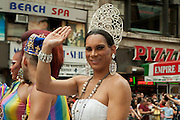 A queenly participant in the 2011 Pride Parade on New York's Fifth Avenue.