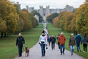 Local residents and visitors enjoy a socially-distanced stroll between trees displaying autumn colours on the Long Walk in Windsor Great Park on 10 October 2020 in Windsor, United Kingdom. The Royal Borough of Windsor and Maidenhead has seen a significant rise in the COVID-19 infection rate over the past week, giving it the second-highest infection rate in South-East England outside London.