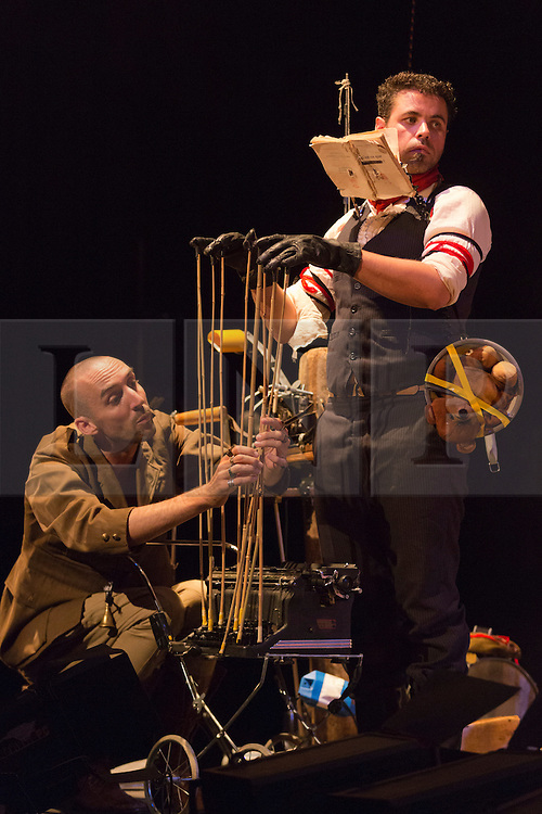 """© Licensed to London News Pictures. 29/07/2014. London, England. Pictured: Simon Drouin and Simon Elmaleh. L'Orchestre d'Hommes-Orchestres (LODHO) return to the Purcell Room at the Southbank Centre with the UK Premiere of """"Shattered Cabaret: The Songs of Kurt Weill"""". Canadian group LODHO create a work at the crossroads of theatre, cabaret, visual art and performance. Photo credit: Bettina Strenske/LNP"""