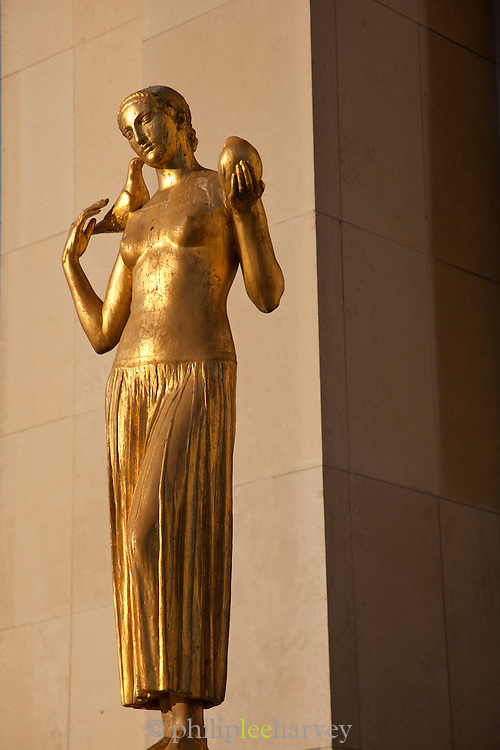 Golden statues at the Palais de Chaillot at the Trocadero in Paris, France