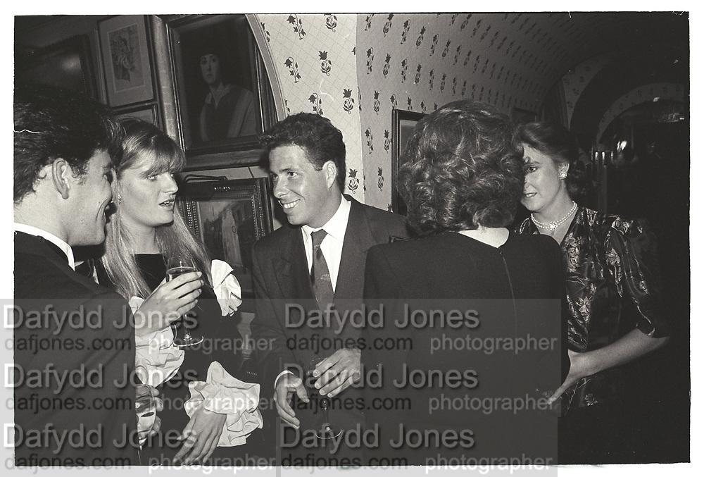 SUSANNAH CONSTANTINE, VISCOUNT LINLEY, VALENTINO PARTY, ANNABELS. 1987.