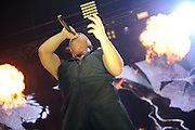 Disturbed performing on the Mayhem Festival at Verizon Wireless Amphitheater in St. Louis, Missouri on July 19, 2011. © Todd Owyoung.