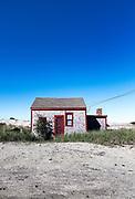 Rustic and isolated solated dune shack, Corn Hill, Truro, Cape Cod, Massachusetts, USA