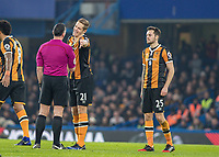 Football - 2016 / 2017 Premier League - Chelsea vs. Hull City <br /> <br />  Michael Dawson of Hull City protests to referee Neil Swarbrick for which he received a yellow card at Stamford Bridge.<br /> <br /> COLORSPORT/DANIEL BEARHAM