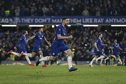 BRITAIN-LONDON-FOOTBALL-UEFA EUROPA LEAGUE-CHELSEA VS FRANKFURT.(190510) -- LONDON, May 10, 2019  Chelsea's Mateo Kovacic (C) celebrates with teammates after winning the penalty shoot of the UEFA Europa League semi-final second leg match between Chelsea and Frankfurt in London, Britain on May 9, 2019.  FOR EDITORIAL USE ONLY. NOT FOR SALE FOR MARKETING OR ADVERTISING CAMPAIGNS. NO USE WITH UNAUTHORIZED AUDIO, VIDEO, DATA, FIXTURE LISTS, CLUBLEAGUE LOGOS OR ''LIVE'' SERVICES. ONLINE IN-MATCH USE LIMITED TO 45 IMAGES, NO VIDEO EMULATION. NO USE IN BETTING, GAMES OR SINGLE CLUBLEAGUEPLAYER PUBLICATIONS. (Credit Image: © Xinhua via ZUMA Wire)
