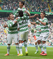 13/09/14 SCOTTISH PREMIERSHIP<br /> CELTIC v ABERDEEN<br /> CELTIC PARK - GLASGOW<br /> The Celtic players swram around Jesan Denayer (22) after he opened the scoring with a touch on the line