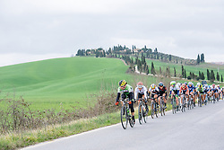 Sheyla Gutierrez leads the second group on the road - 2016 Strade Bianche - Elite Women, a 121km road race from Siena to Piazza del Campo on March 5, 2016 in Tuscany, Italy.