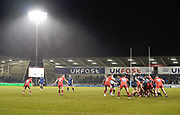 General view of the match during a Gallagher Premiership Rugby Union match Sale Sharks -V- Leicester Tigers, won by Sale 36-3 Friday, Feb. 21, 2020, in Eccles, United Kingdom. (Steve Flynn/Image of Sport via AP)
