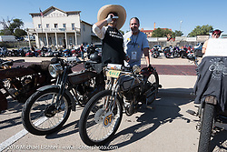 Harley-Davidson Museum Archive Restorer/Conservator Bill Rodencal (L) of Wisconsin on his 1915 Harley-Davidson with fellow Cannonballer Scott Byrd at the finish line in Dodge City, KS during the Motorcycle Cannonball Race of the Century. Stage-8 from Wichita, KS to Dodge City, KS. USA. Saturday September 17, 2016. Photography ©2016 Michael Lichter.