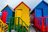 Colorful beach huts, St. James Beach, False Bay, Cape Town, South Africa.