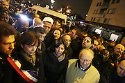 The Mayor of Paris Anne Hidalgo with Hassan Chalghoumi, Iman and other official delegates meet with press and public and Porte Vincennes<br />