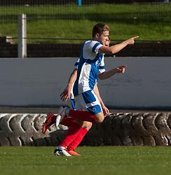 Cowdenbeath's Greg Stewart celebrates after scoring their goal.<br /> Cowdenbeath 1 v 0 Falkirk, 14/9/2013.<br /> ©Michael Schofield.