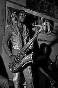 Fela Kuti backstage at the Shrine - Lagos 1978