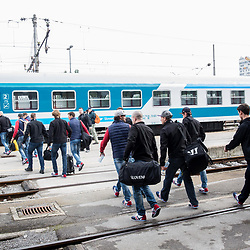 20170417: SLO, Ice Hockey - Departure of Slovenian National Team to Budapest by train