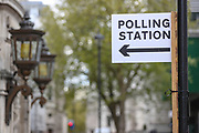 Placards with polling station directions are placed outside a polling centre in central London on Wednesday, May 5, 2021. The 2021 London mayoral election will be held on 6 May 2021 to elect the mayor of London. The mayoral and Assembly elections were originally due to be held on 7 May 2020, but in March 2020 the government announced the election would be postponed until 2021 due to the COVID-19 pandemic. (Photo/ Vudi Xhymshiti)