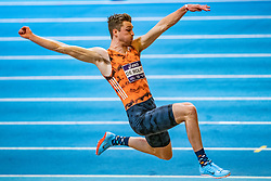 Rody de Wolff in action on long jump during the Dutch Athletics Championships on 13 February 2021 in Apeldoorn