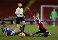 Caolan Lavery of Sheffield Utd fouled during the English League One match at Bramall Lane Stadium, Sheffield. Picture date: December 10th, 2016. Pic Simon Bellis/Sportimage