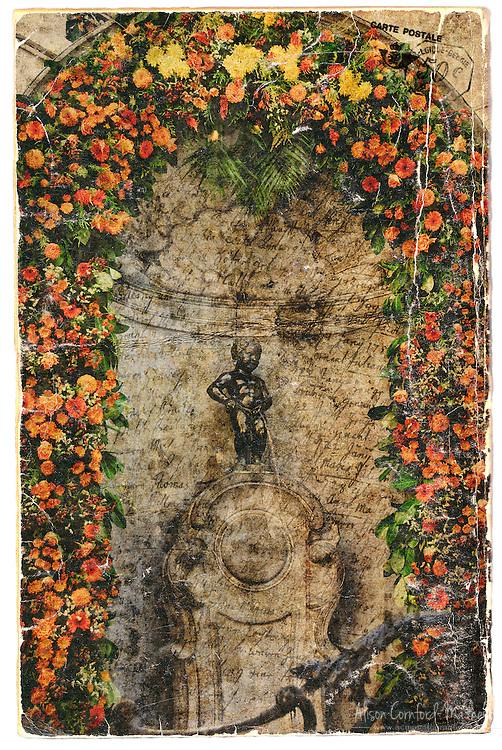 Manneken Pis, Brussels, Belgium - Forgotten Postcard digital art collage