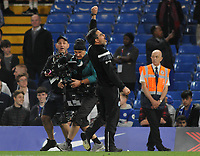 Football - 2017 / 2018 Premier League - Chelsea vs. Huddersfield Town<br /> <br /> Huddersfield Manager, David Wagner, salutes the Huddersfield fans at the final whistle after surviving in the Premiership for next season at Stamford Bridge.<br /> <br /> COLORSPORT/ANDREW COWIE