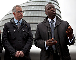 © Licensed to London News Pictures. 05/04/2012. London, U.K..Brian Paddick (L), Liberal Democrat candidate for London Mayor announces that Duwayne Brooks (R), best friend of Stephen Lawrence, is to be his Deputy Mayor for Youth and Communities. The position would involve Duwayne working closely with communities and young people in London, listening and engaging with them and reporting back to the Mayor, offering advice and delivering projects beneficial to both groups..Photo credit : Rich Bowen/LNP